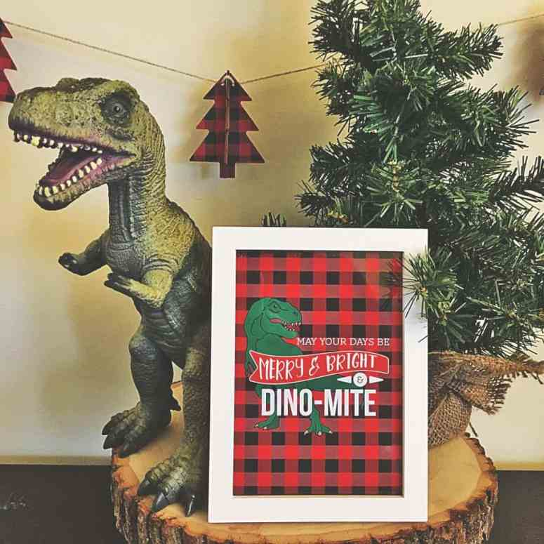 Merry and Bright and Dino-Mite Dinosaur Holiday Printable from Elva M Design Studio