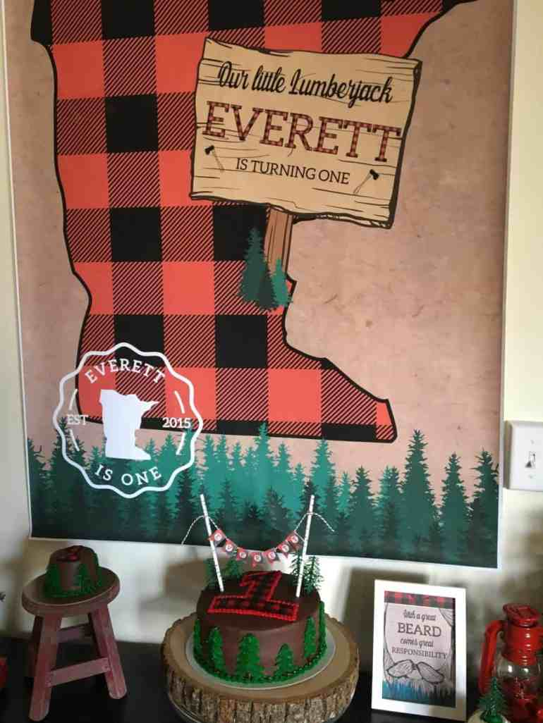 Lumberjack Birthday Party Backdrop and Styling by Elva M Design Studio