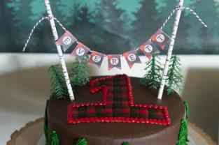 Lumberjack First Birthday Cake with Personalized Banner