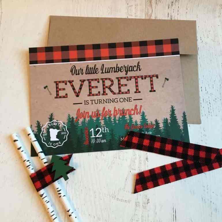 Lumberjack Birthday Party Invite by Elva M Design Studio