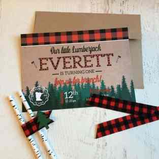 Minnesota Lumberjack Birthday Party Invite