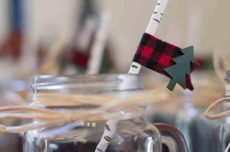 Mason jar and washi tape party flag at the lumberjack birthday party