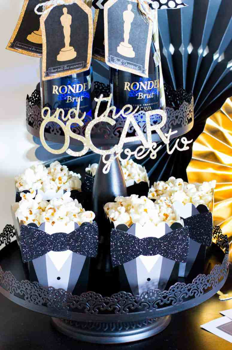 Oscar Party Tiered Stand with Popcorn and Champagne