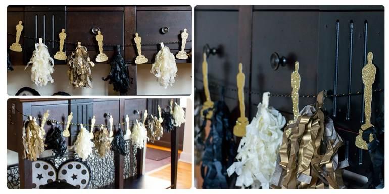 Oscar Party Tissue Tassel Bunting Collage