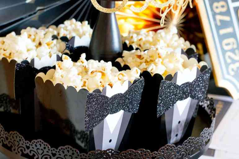 Tuxedo Popcorn boxes from Oriental Trading