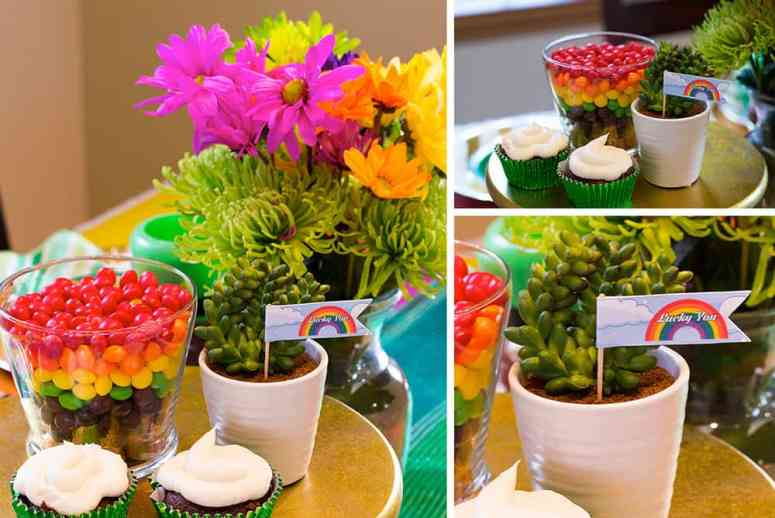 St Patrick's Day table setting centerpiece
