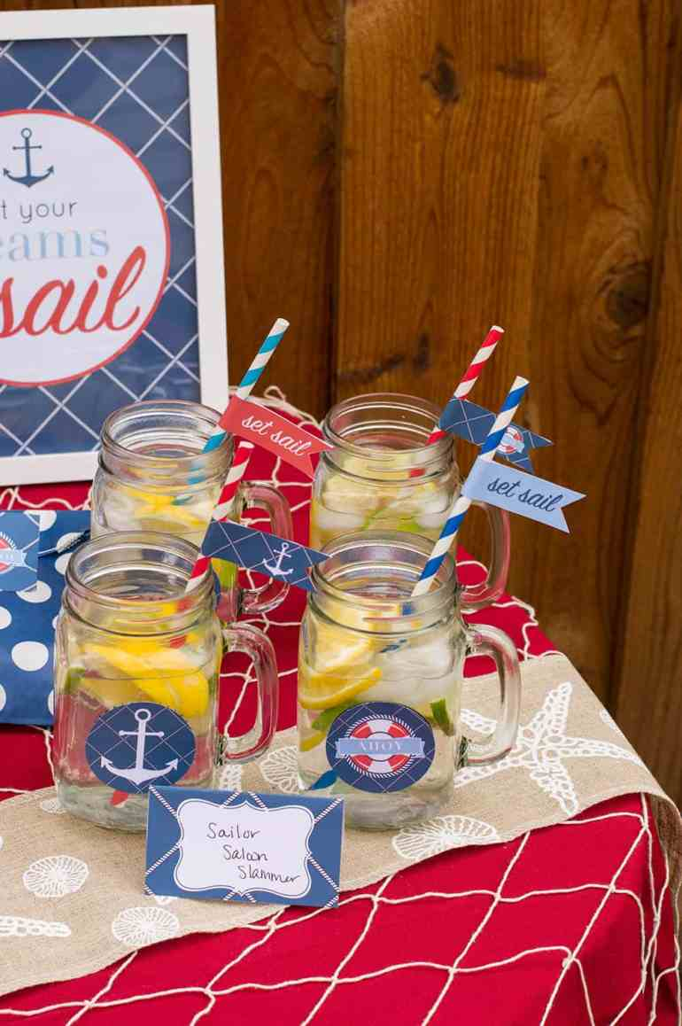 Mason Jar Drinks at Nautical Party