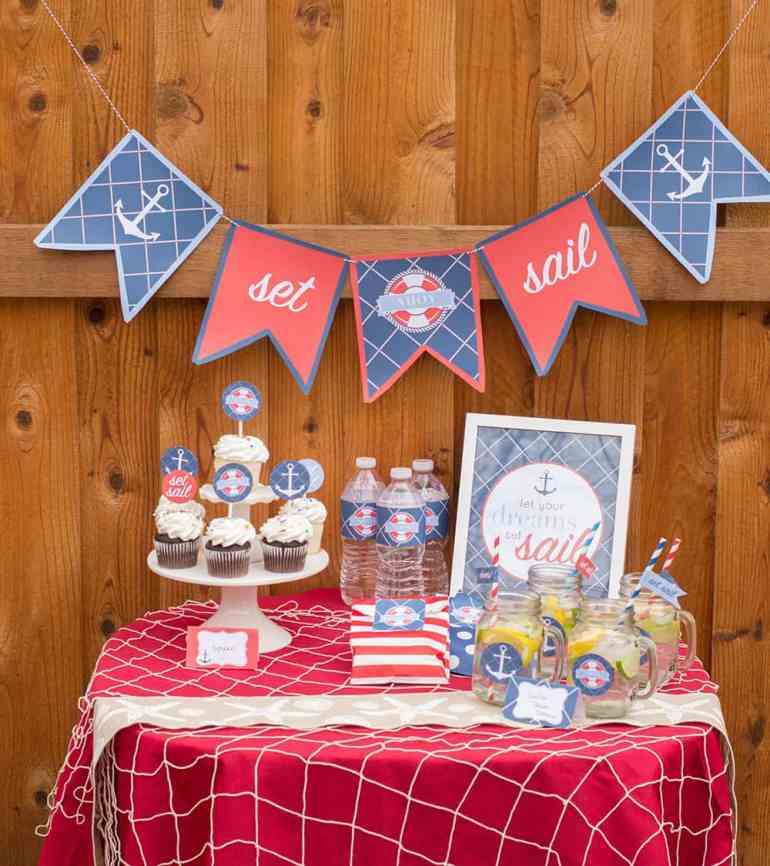 Nautical Party Table with printables for Catch My Party