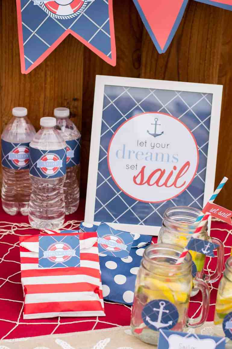Set Sail Party Sign in Nautical Printable Party for Catch My Party