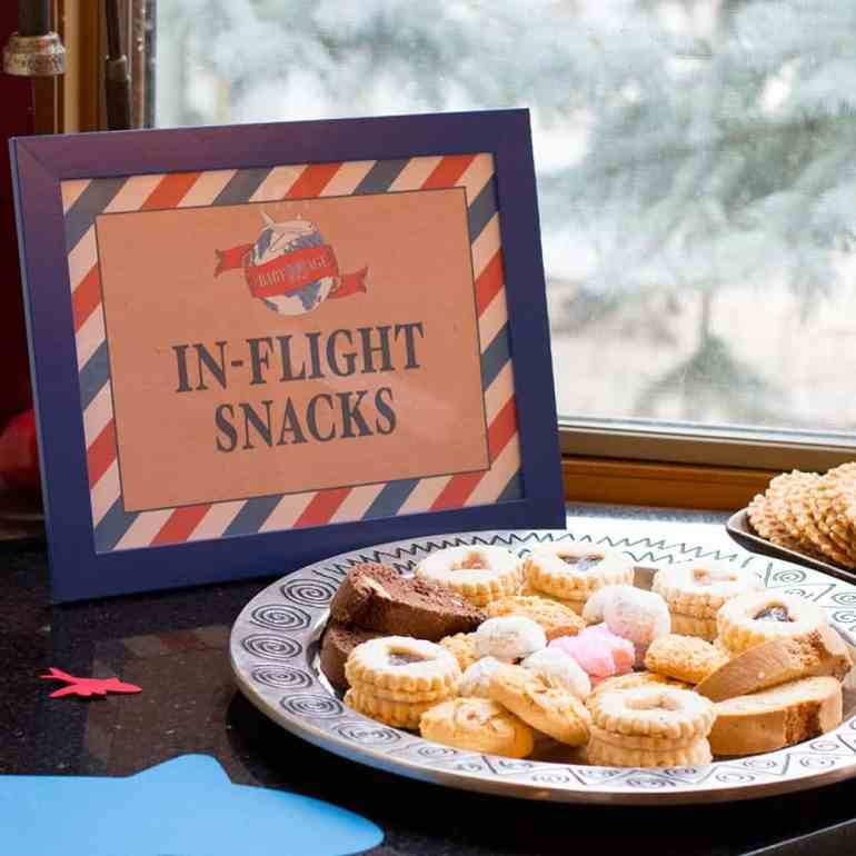 In-Flight Snacks Travel Theme Shower Sign