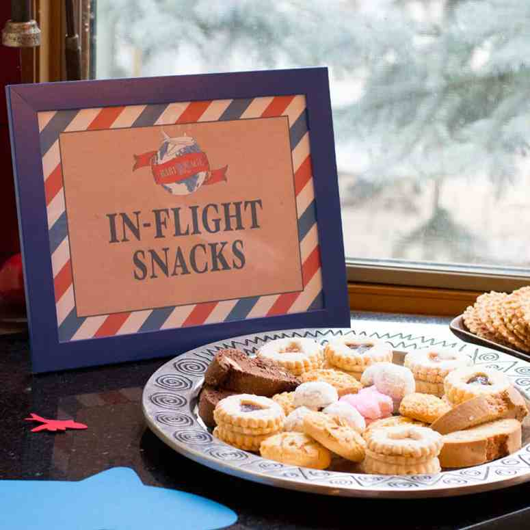 In-Flight Snacks Travel Theme Shower Sign