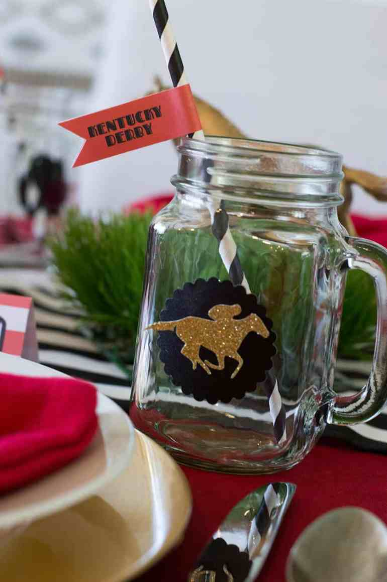 Kentucky Derby Mason Jars with free straw flag printable. Available at elvamdesign.com.