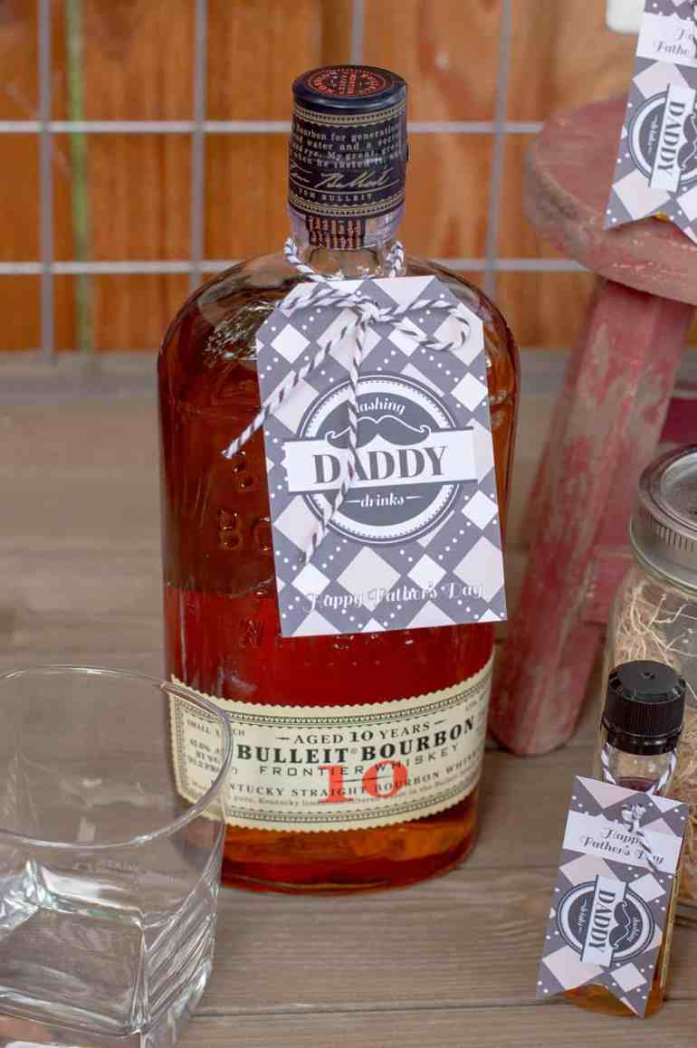 Bulleit Bourbon with Dashing Daddy Drinks tag