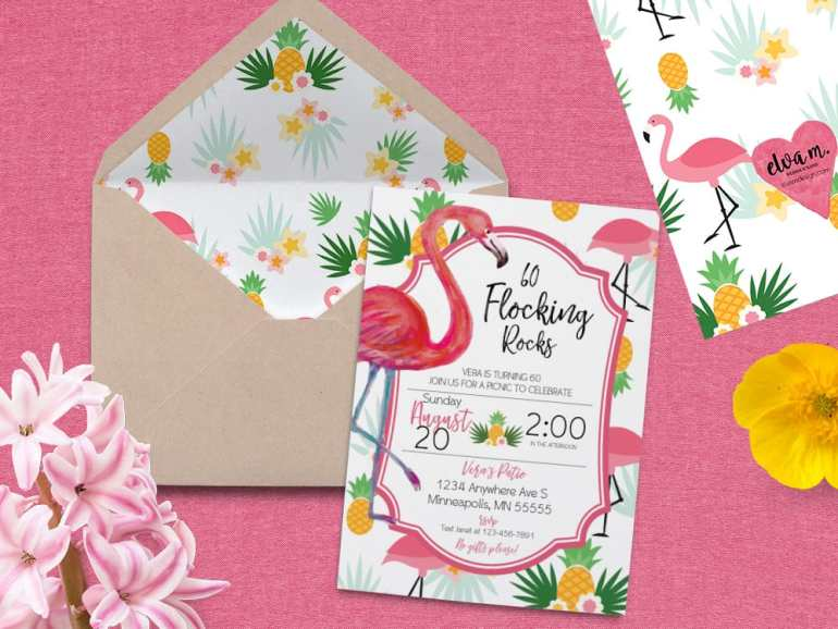 Pineapple and Flamingo Party Invite - 60th Birthday Party