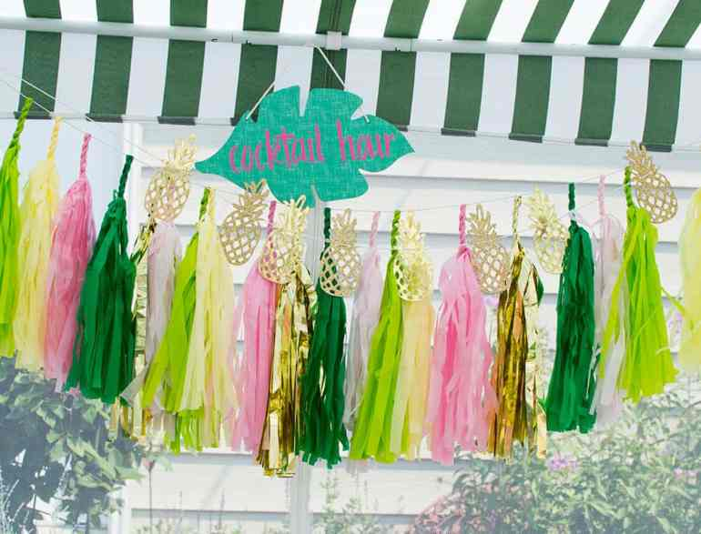 Cocktail Hour Sign and Tissue Tassel Bunting