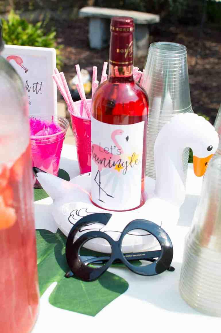 Let's Flamingle Wine Label