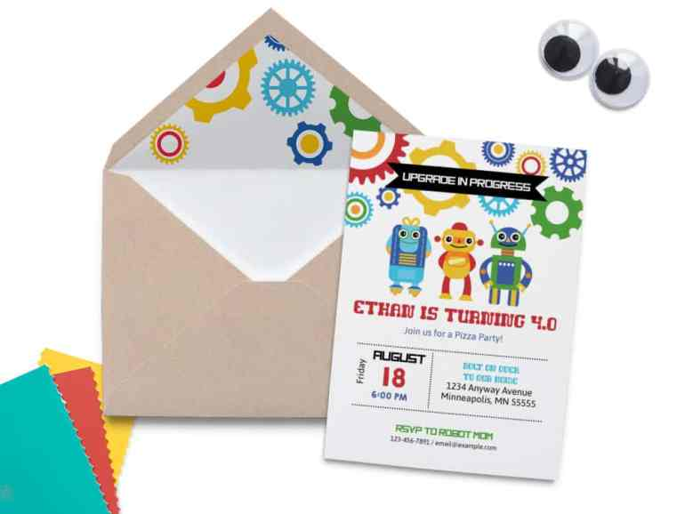 Robot Birthday Invitation by Elva M Design Studio