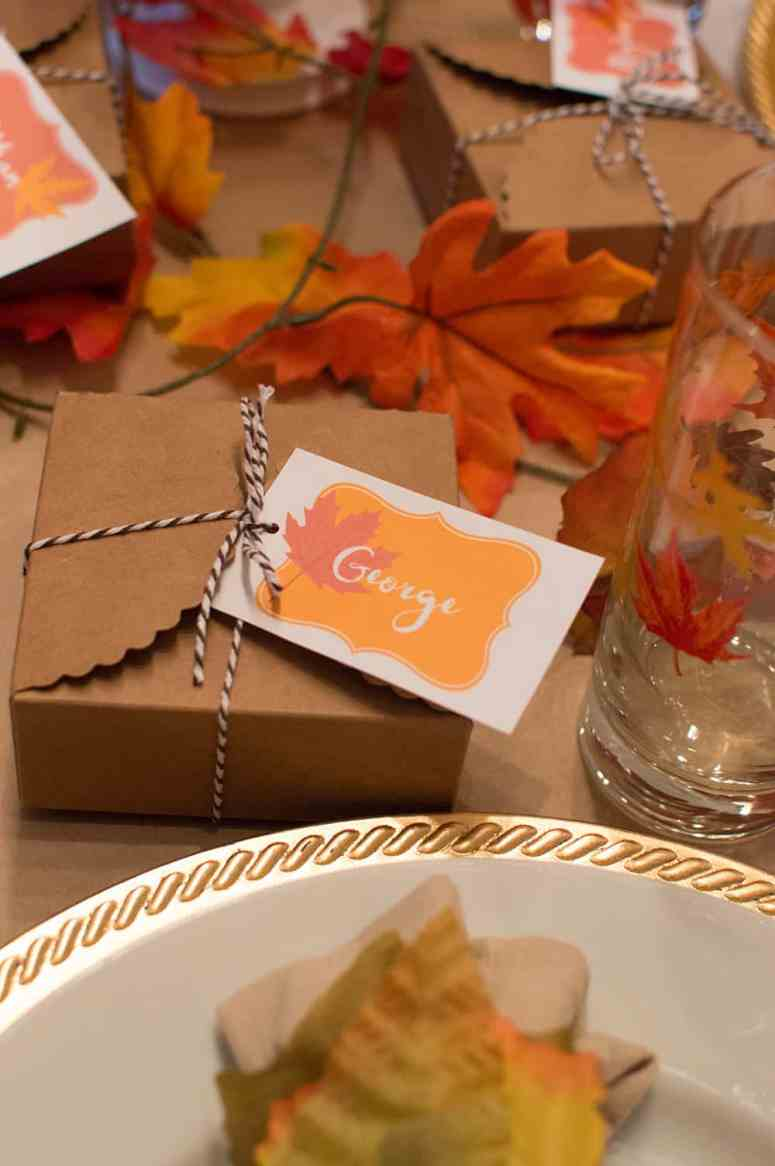 Custom Fall place card and party favor