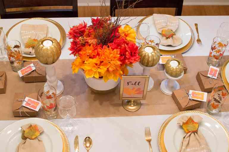 Festive Fall Tablescape overhead view