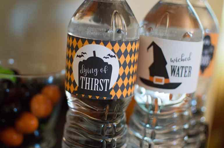 Halloween water bottle labels from Elva M Design Studio
