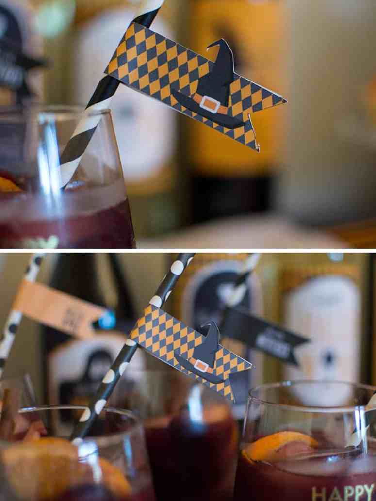 Ghouls Wine Night Witchy Wine Straw Flags from Elva M Design Studio
