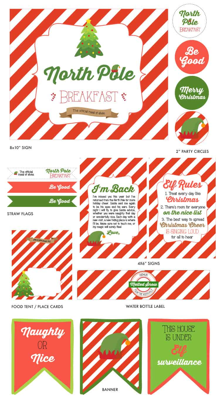 Elf on the Shelf North Pole Breakfast Printables from Elva M Design Studio for Catch My Party