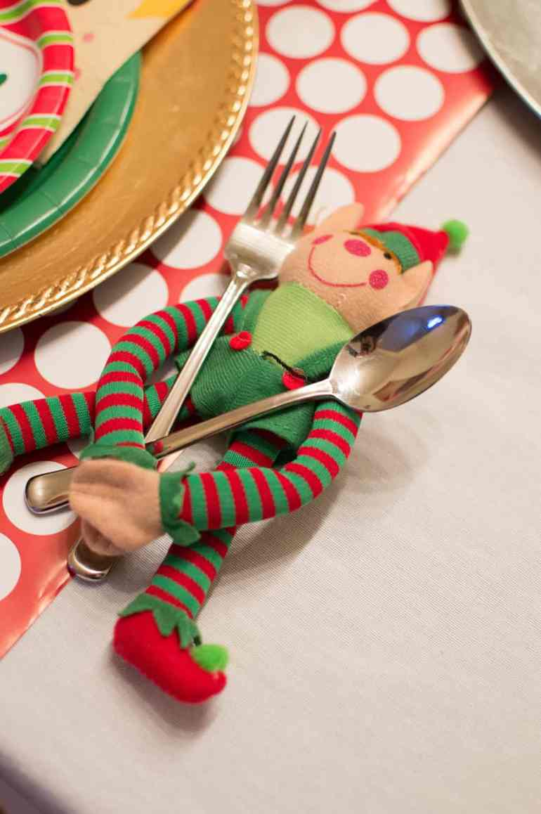 Oriental Trading Plush Elves holding onto utensils at the Elf on the Shelf North Pole Breakfast from Elva M Design Studio