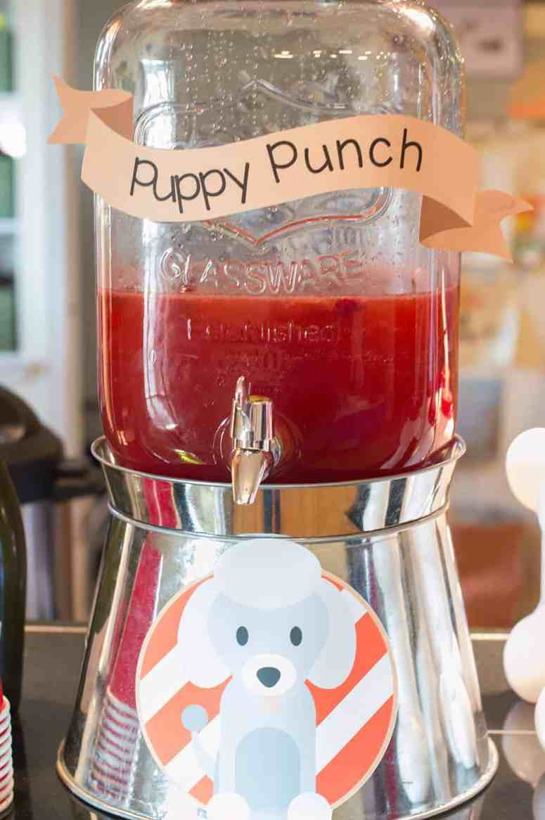 Puppy Party Punch served in Mason Jar Drink Dispenser from Oriental Trading