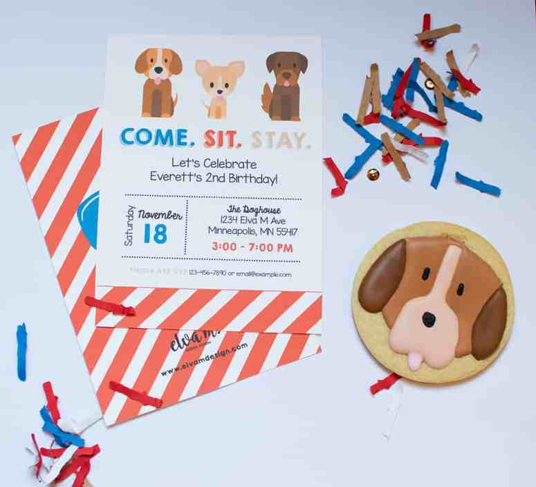 Puppy Party Invitation by Elva M Design Studio; Sugar Cookie by Amy's Cupcake Shoppe; FestiveFetti custom party confetti