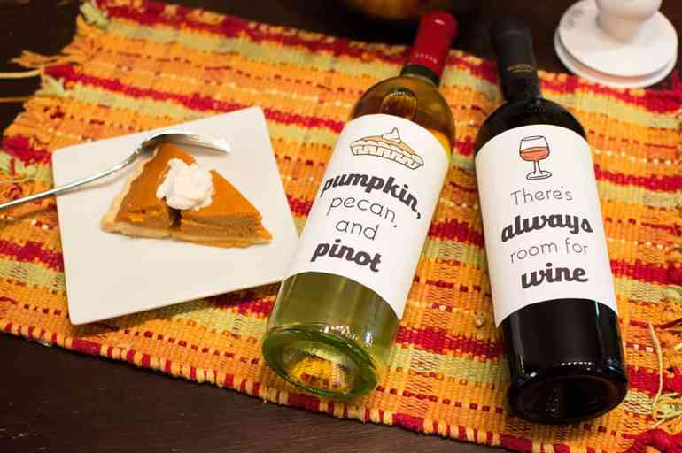Snag these Free Thanksgiving Wine Bottle Labels from Elva M Design Studio