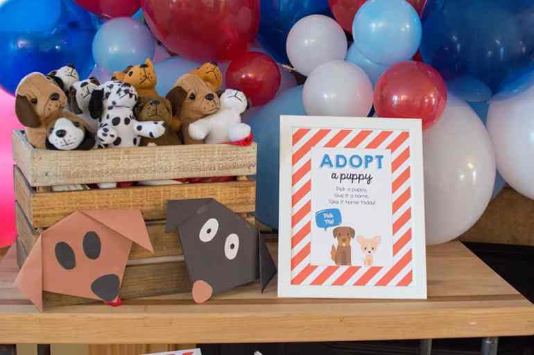 Adopt a Puppy with these cute Oriental Trading plush puppies; party styling by Elva M Design Studio
