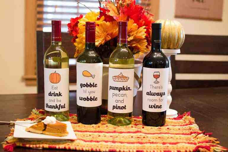 Set of 4 Free Thanksgiving Wine Bottle Labels from Elva M Design Stuido