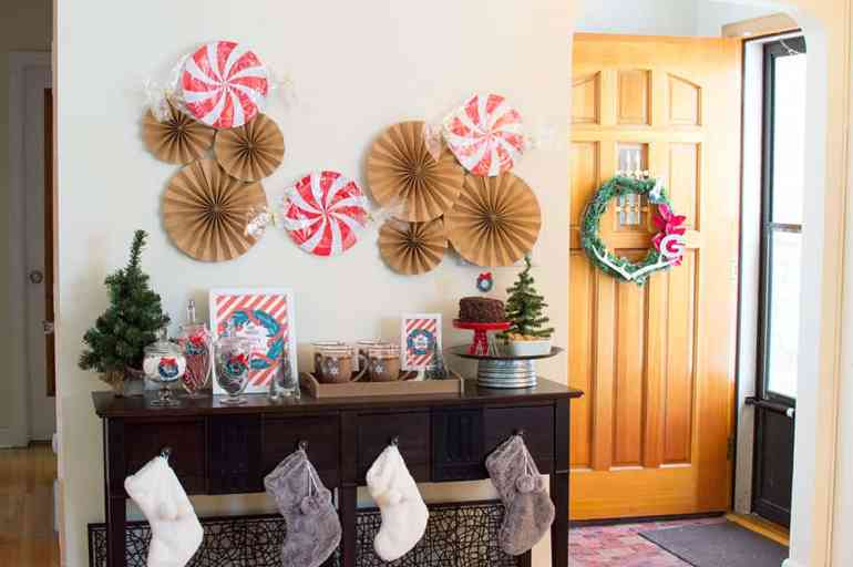 Holiday Hot Cocoa Bar Entry Table Styled by Elva M Design Studio
