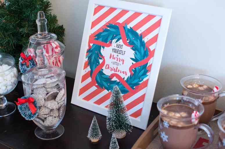 Holiday Hot Cocoa Bar Merry Christmas sign designed by Elva M Design Studio