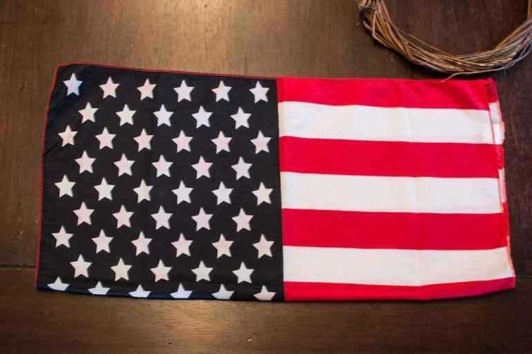 Step 1: Fold your flag -- DIY 4th of July Wreath from Elva M Design Studio