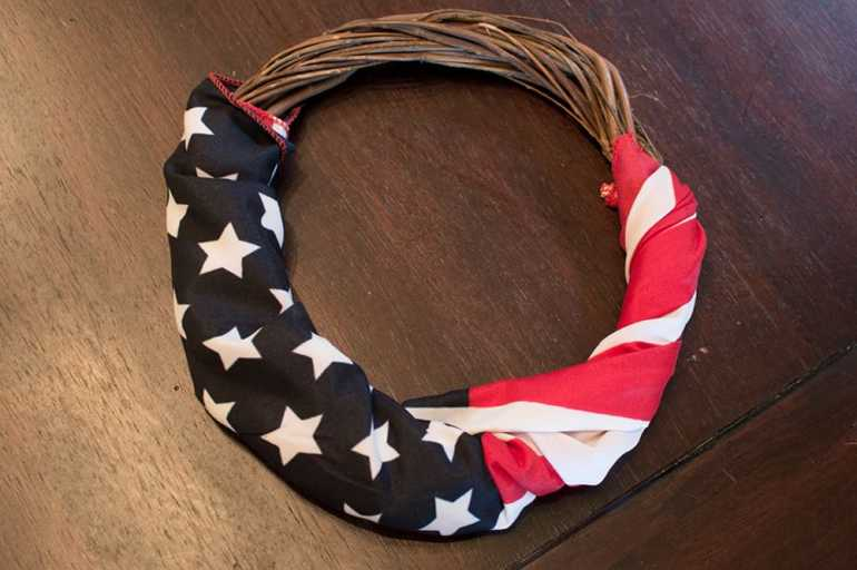 Step 2: Wrap Flag around your wreath -- DIY 4th of July Wreath from Elva M Design Studio