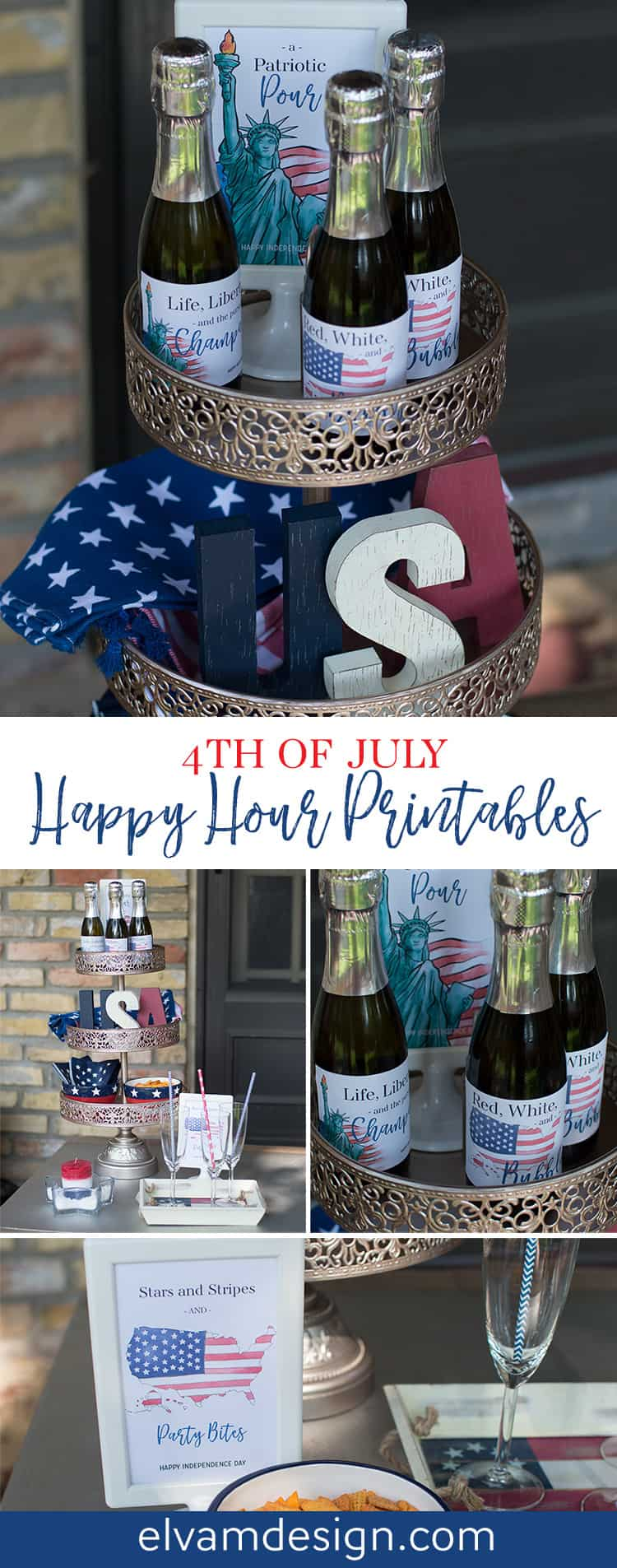 Download these free 4th of July Patriotic Happy Hour Printables from Elva M Design Studio