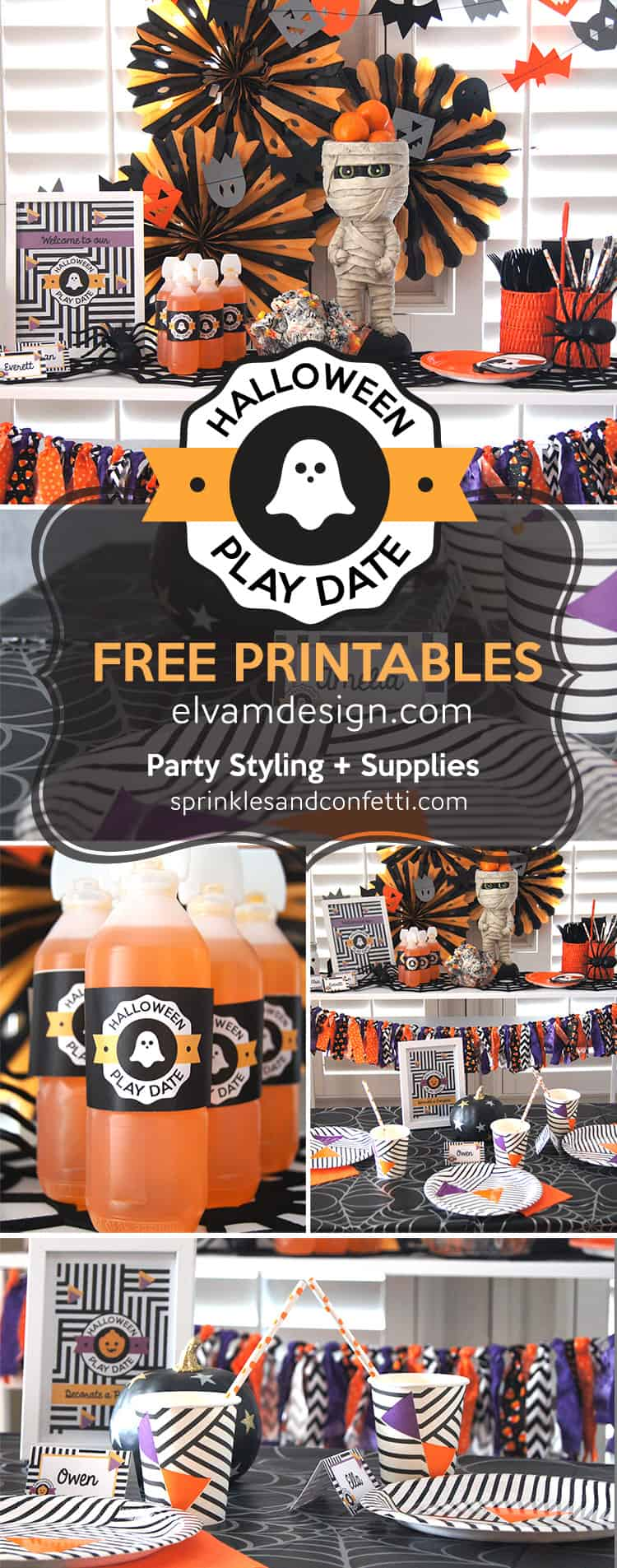 Host a Halloween Play Date with free printables from Elva M Design Studio