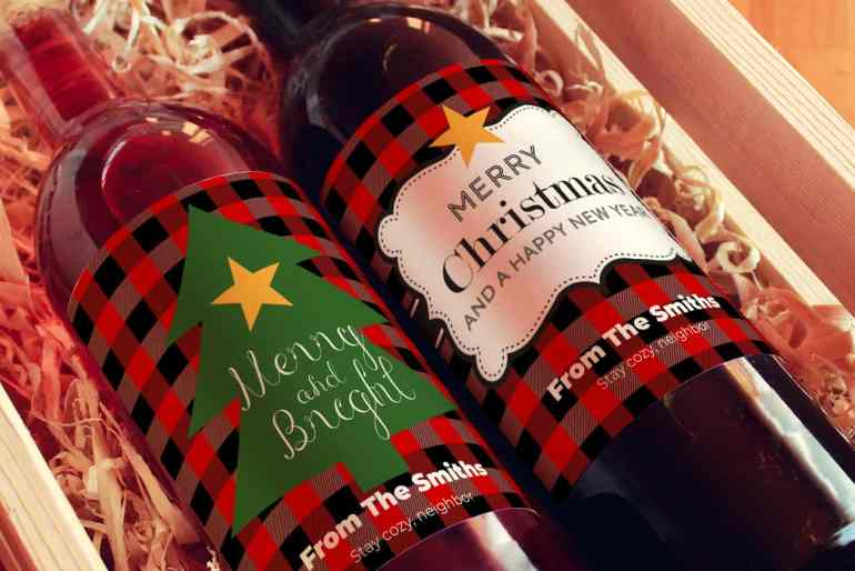 Christmas wine labels gift box