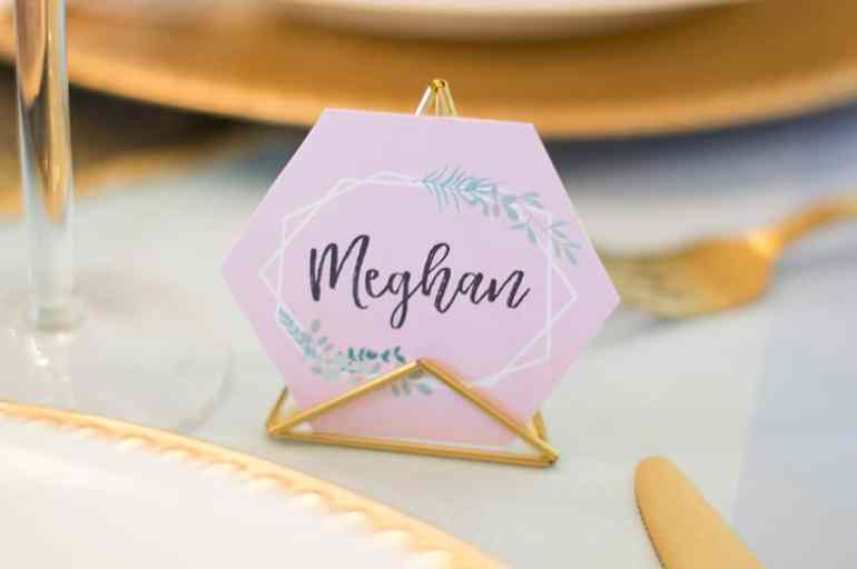Place cards add a special touch at the Crown Thyself brunch styled by Elva M Design Studio