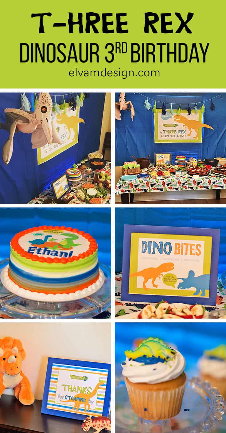 T-hree Rex Dinosaur Third Birthday Party