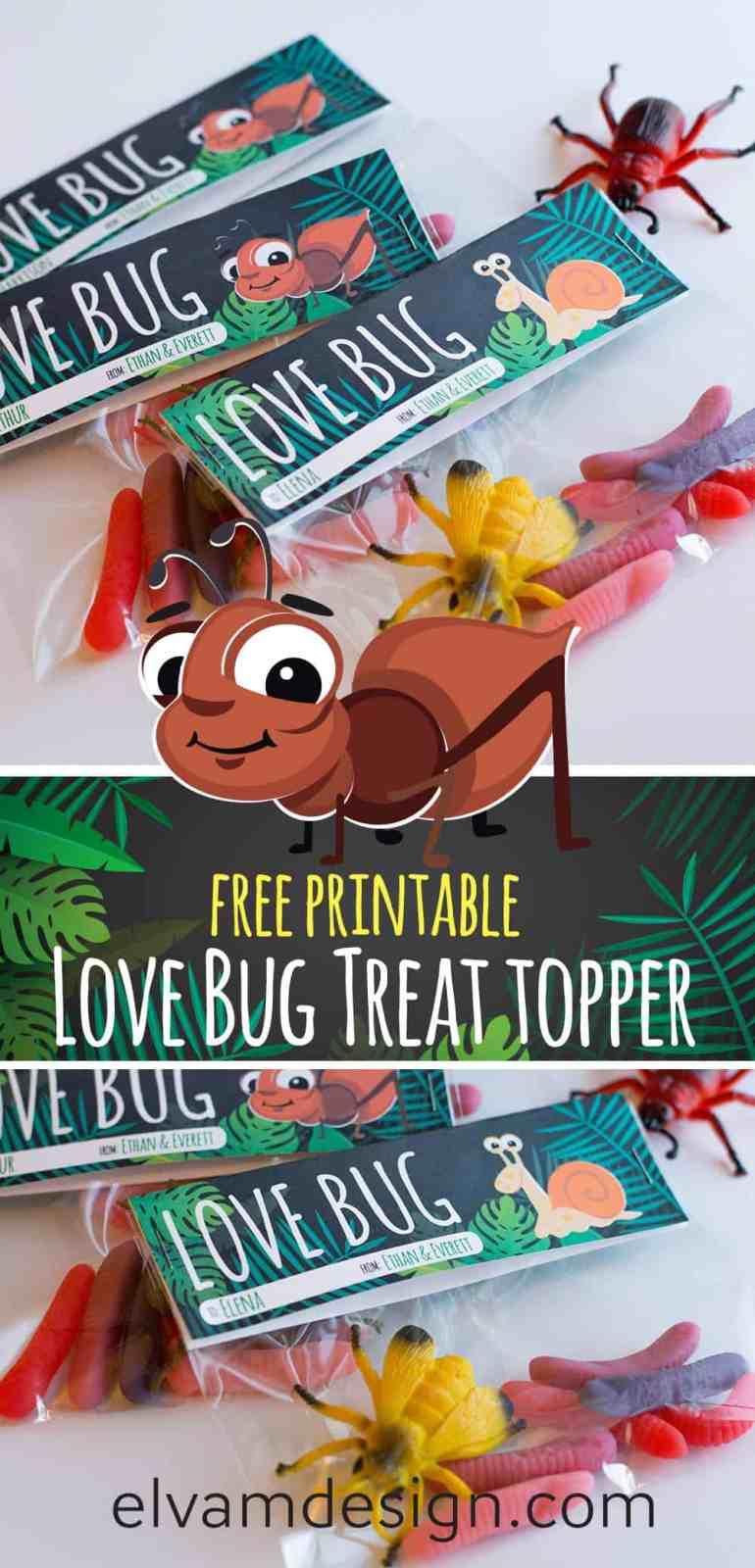 Download this free Love Bug Valentines Treat Topper at elvamdesign.com