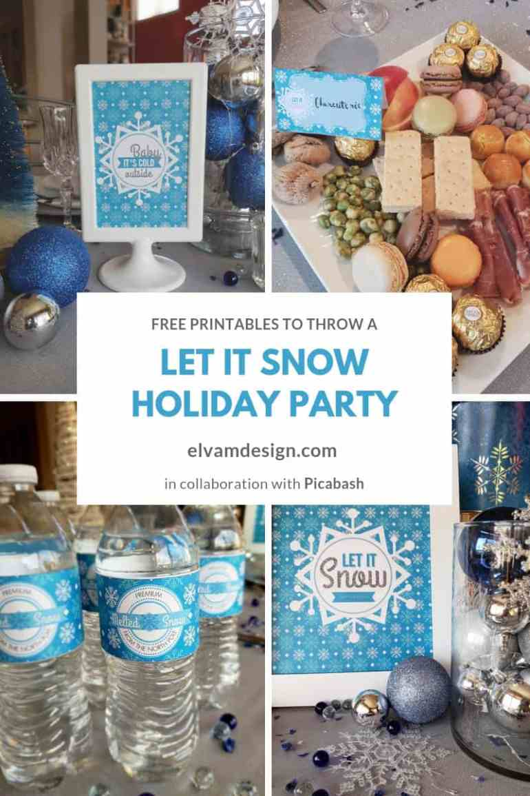 Throw a Let it Snow Holiday Party with these free printables from Elva M Design Studio