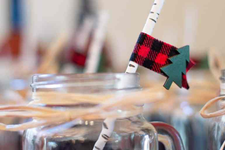 Lumberjack washi tape DIY straw flags