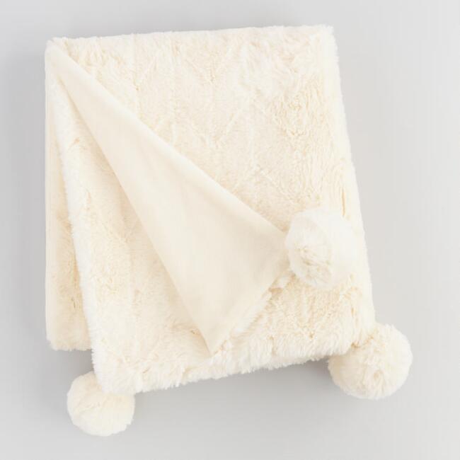 World Market Diamond Faux Fur Throw Blanket