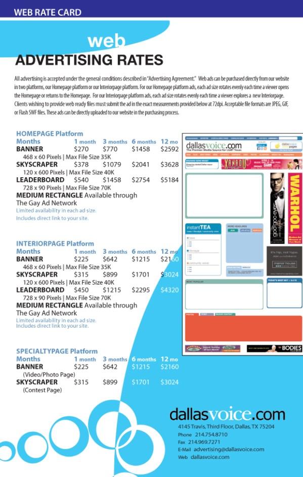 Examples of Rate Cards | El Vaquero Graphics Team