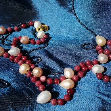 Hand knotted pearls with red jasper