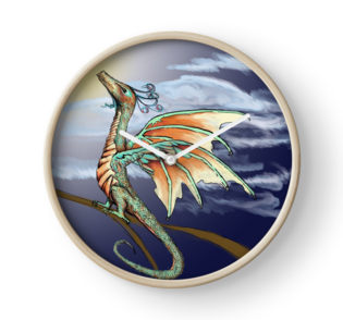 Purchase at https://www.redbubble.com/people/elvenassassin/works/25135317-fledgling-hummingbird-dragon-pseudodragon?p=clock&rel=carousel