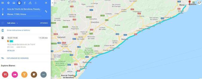Ruta costa de Barcelona en tren - El Viaje No Termina