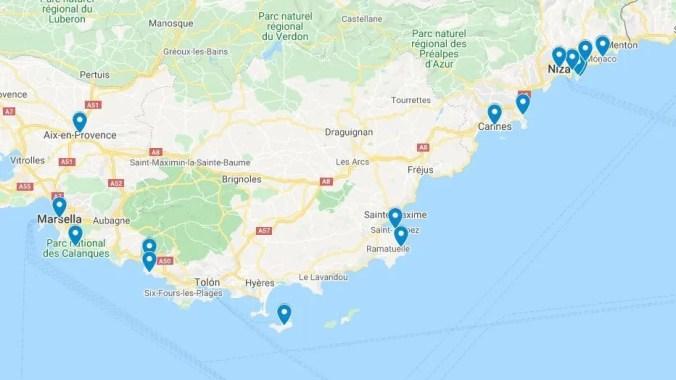 Mapa Costa Azul Francia - El Viaje No Termina